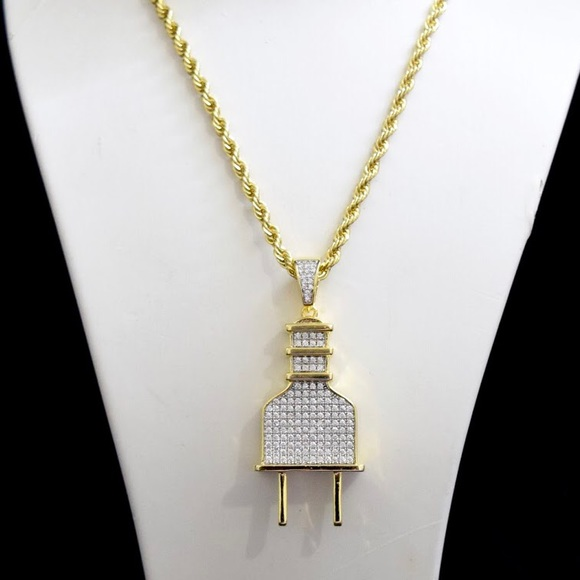 Other - 14k Gold Finish Lab Diamond PLUG Charm Chain